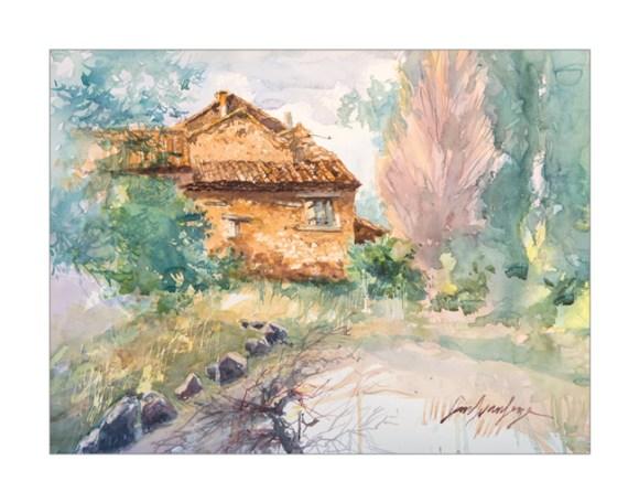 Vaucluse. Bedoin, les Fatigons (aquarelle)