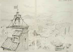 Vaucluse - Malaucène, le beffroi vu du château.