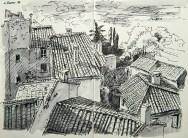 Vaucluse - Les toits du Barroux vus du château.