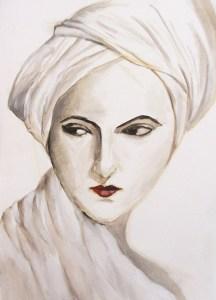 Portrait presque monochrome à l'huile par Danielle.