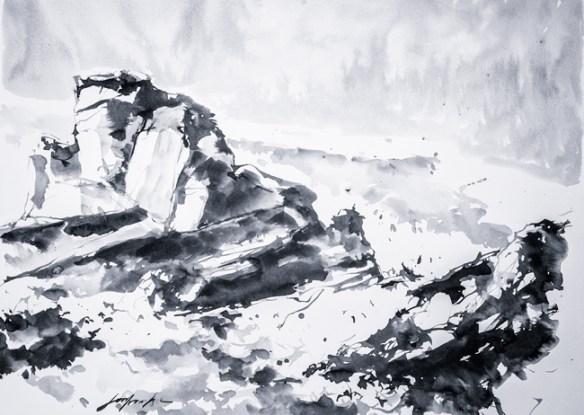 Pointe du Percho. Encre noire sur papier.