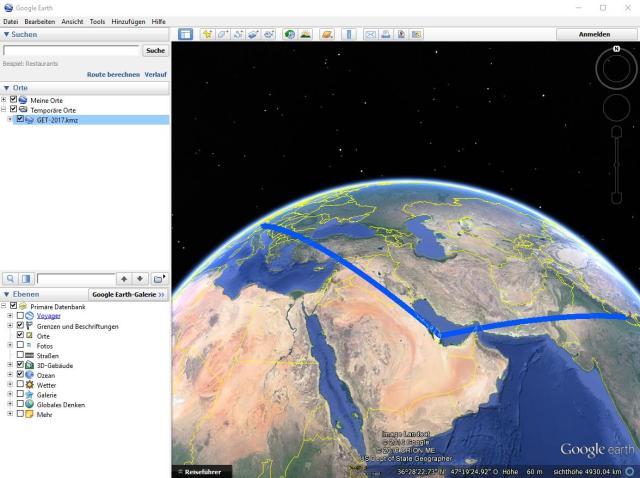 """Nun öffnet sich Google Earth, wo ihr unter """"Temporäre Orte"""" nun einen Ordner mit der Beschriftung """"GET-2017.kmz"""" findet. Ein Doppelklick darauf öffnet die Unterkategorien."""