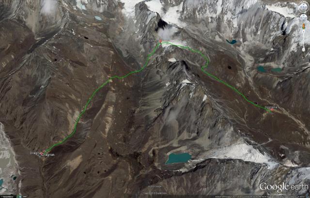 Unsere heutige Route von Dragnak über den Cho-La Pass nach Dzonglha