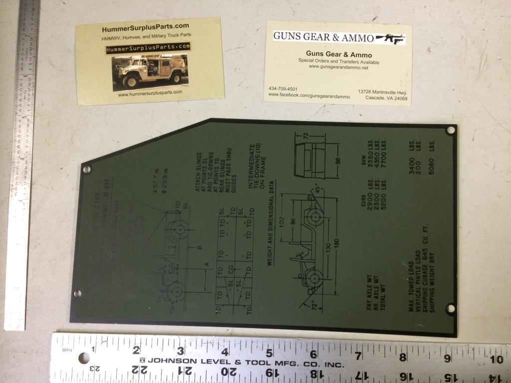 M-998 HMMWV Tie Down Identification Plate 12339900 5595528 9905-01-248-9544
