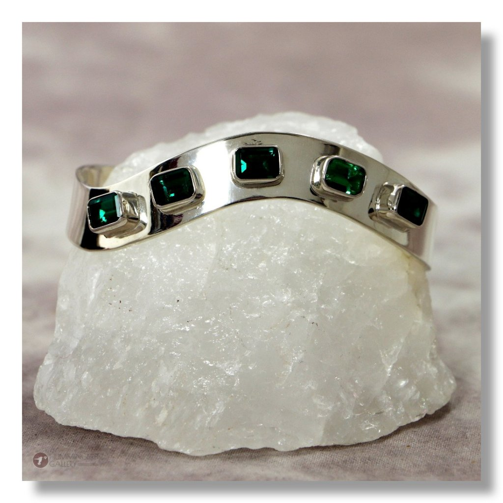 Hummingbird Gallery J0001-Ladies-Emerald-Sterling-Silver-Cuff-Smooth-Finish-with-5-Square-Cut-Emeralds-A Featured
