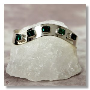 Ladies Emerald Sterling Silver Cuff - Smooth Finish with 5 Square Cut Emeralds