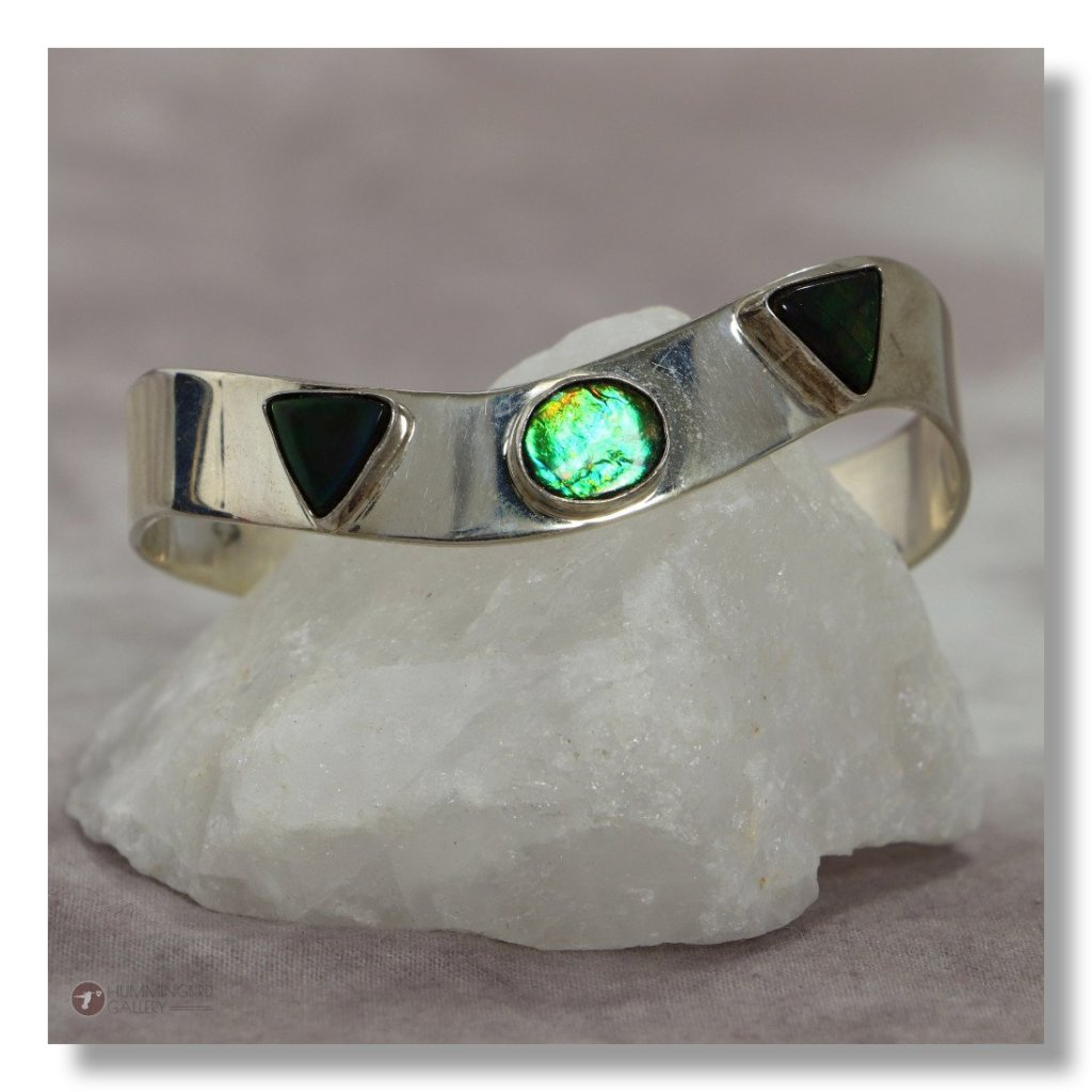 Hummingbird Gallery J0007-Ladies-Ammolite-Sterling-Silver-Cuff-Smooth-Finish-with-3-Ammolite-Stones-A Featured