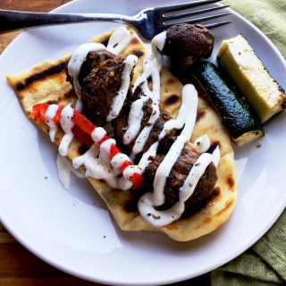 Cumin-Chile Lamb Skewers with Garlic Yogurt Sauce