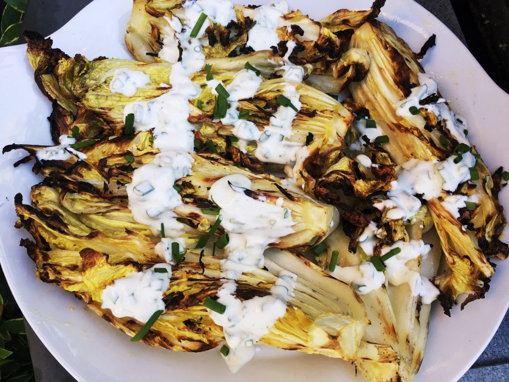 Homemade Buttermilk Dressing over Grilled Cabbage