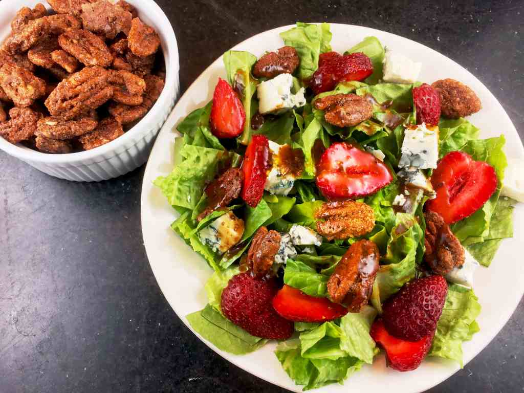 Strawberry Gorgonzola Salad with Sweet and Spicy Pecans
