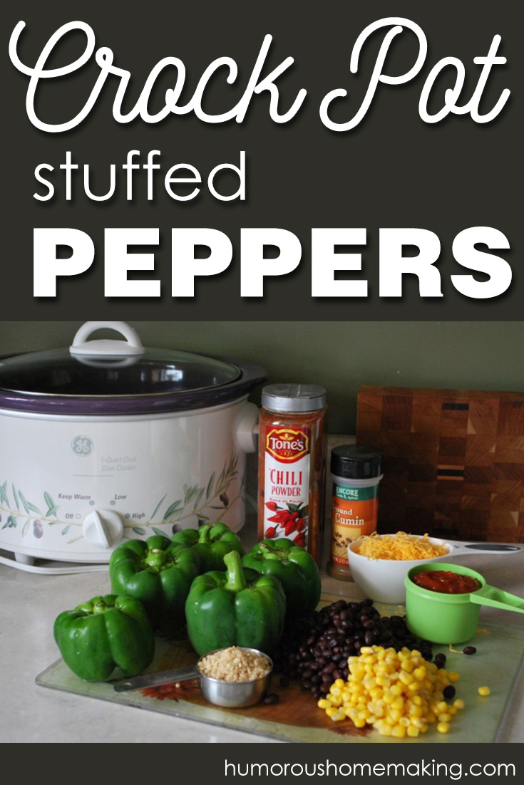 These Crockpot Stuffed Peppers are perfect for Meatless Monday or will also work with meat added to them! An easy weeknight dinner option.