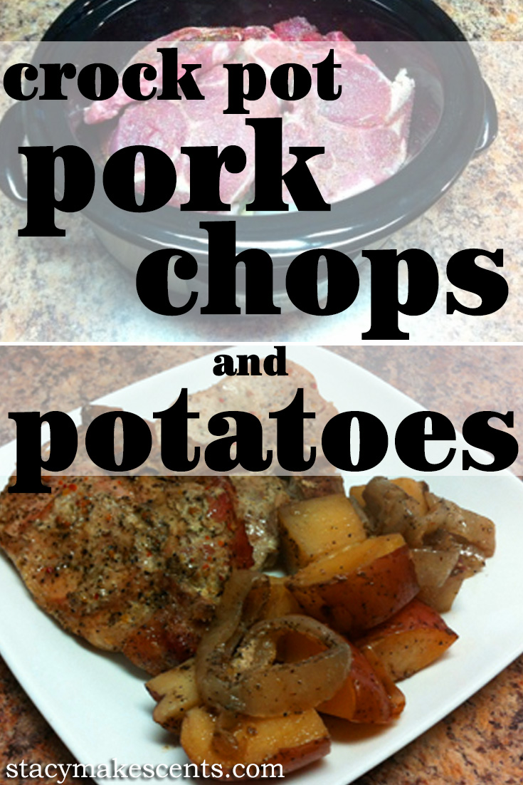 CrockPot Pork Chops and Potatoes from Get Crocking. Just chop your veggies and add everything to the crockpot for an easy and delicious dinner!