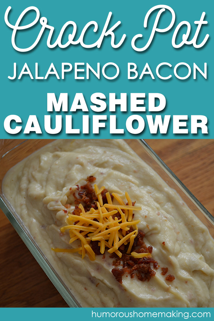 This Crockpot Jalapeno Bacon Mashed Cauliflower is the perfect low carb side dish for dinner this week. And did I mention bacon?!