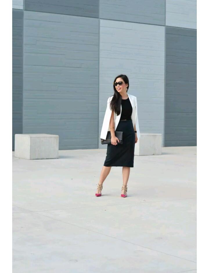 ways to wear black pencil skirt and cape blazer