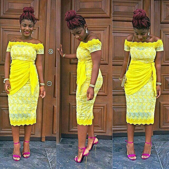 Yellow lace gown styles