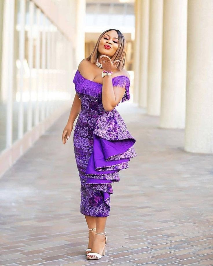 Purple lace gown with fringe