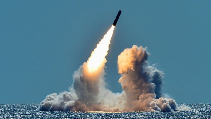 An unarmed Trident II D5 missile is test-launched from the Ohio-class U.S. Navy ballistic missile submarine USS Nebraska off the coast of California, U.S. March 26, 2018
