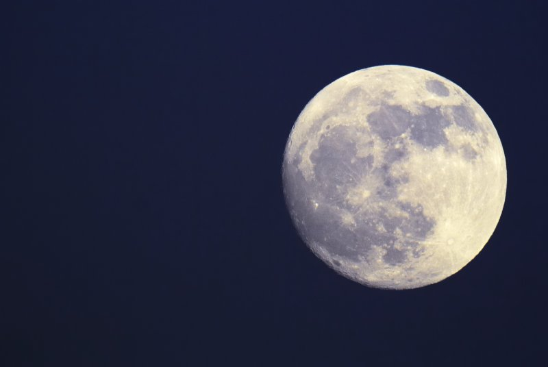 Full moon with visible surface