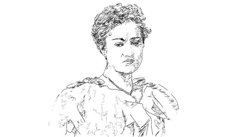 Ink drawing of Leokadiya Kashperova