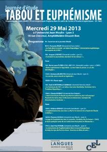 """Journée d'étude """"Tabou et euphémisme"""", 29 mai 2013"""