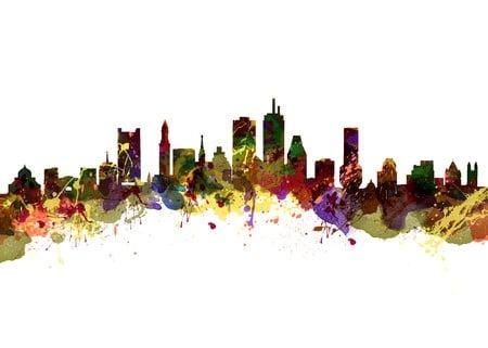 Watercolor Boston Skyline