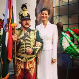 Frank Bakonyi, of the First California Hussar Regiment and HIF Executive Director Anna Smith Lacey