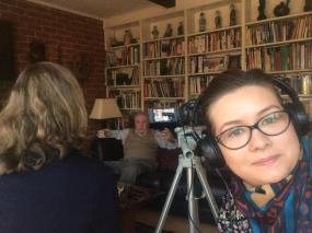 Sarolta Borzasi assisting Andrea Lauer Rice with a Memory Project interview featuring a 1956 emigre