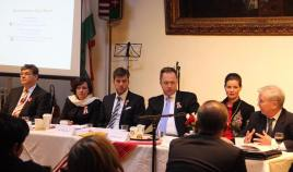 Imre Szakacs, Reka Szemerkenyi, Peter Szilagyi, Ferenc Kumin, Anna Smith Lacey and Laszlo Hamos at NY diaspora meeting