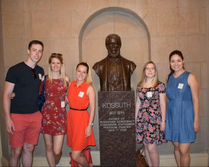 CIP interns Tatjána Turányi, Orsolya Lőrincz and Viktória Katona at the Kossuth statue in the U.S. Capitol