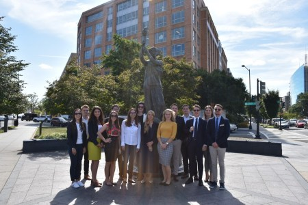 Participants of the 2019 Young Hungarian Leader's Program in front of the Victims of Communism Memorial in Washington D.C.