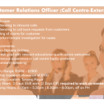 Customer Relations Officer - Call Centre External)