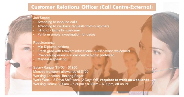 Customer Relations Officer - Call Centre External)