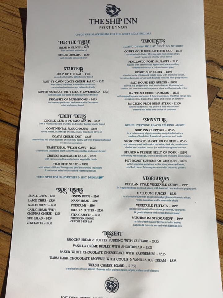 The new menu at The Ship Inn