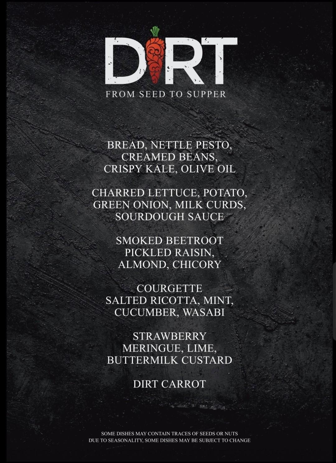 DIRT menu
