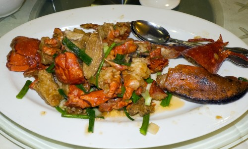 Lobster with ginger and scallion sauce.