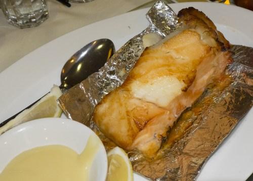 Tea smoked Chilean sea bass.