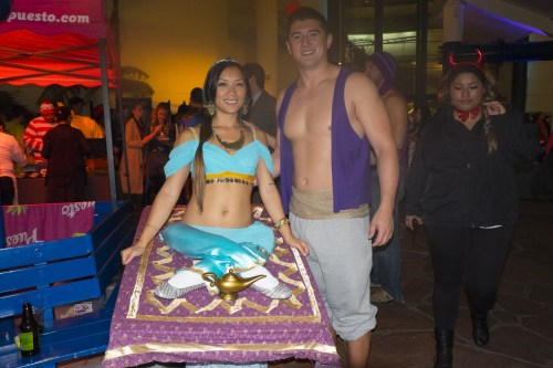 Aladdin and genie.