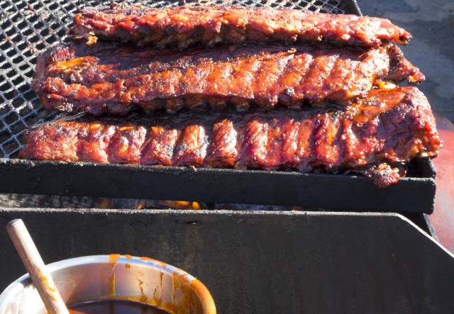 Baby back ribs on the grill.