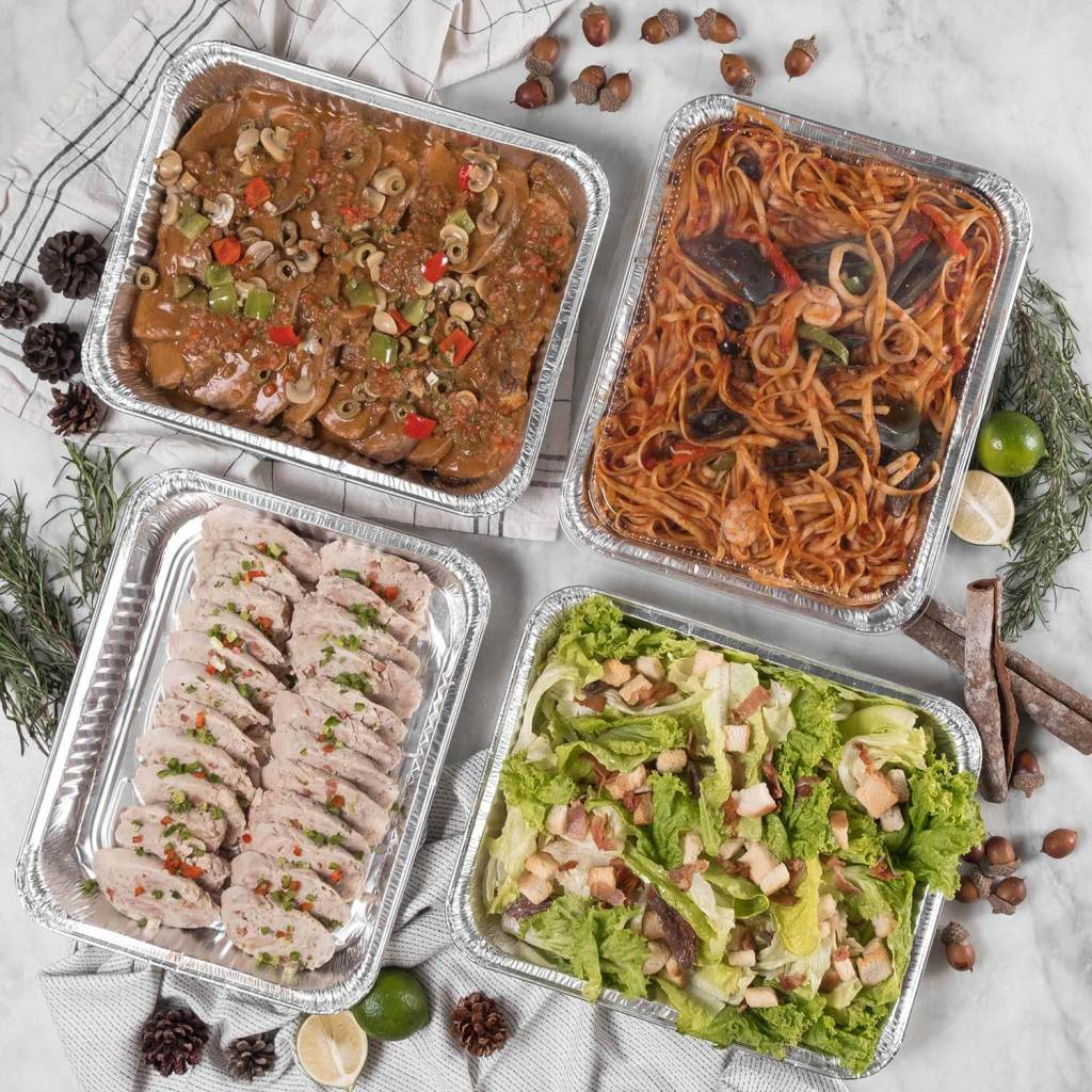 #BrighterCravings2018 Cravings Party Trays - clockwise from top left - Lengua Con Champignon, Pasta Paella, Classic Caesar Salad and Chicken Galantina