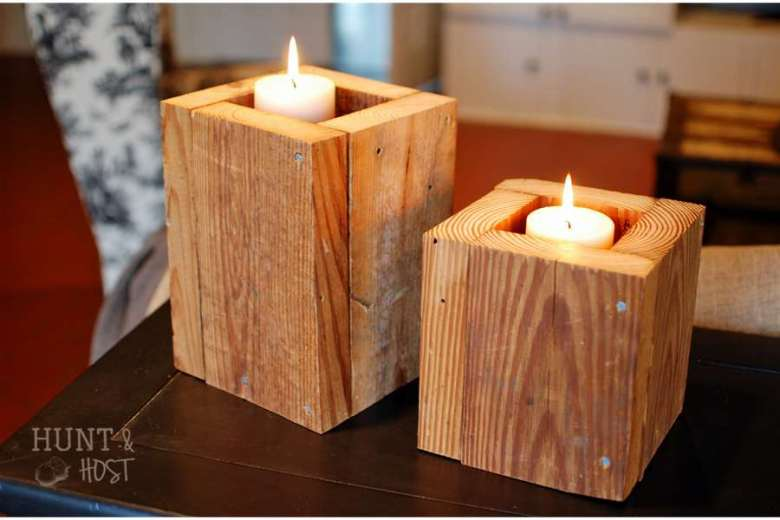 Salvaged wood candle box huntandhost.net