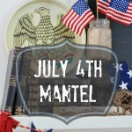 July 4th mantel diy all the elements of summer! Baseball, road trips, the beach, American flag, Eagle, denim, fun straws and a bird's nest!