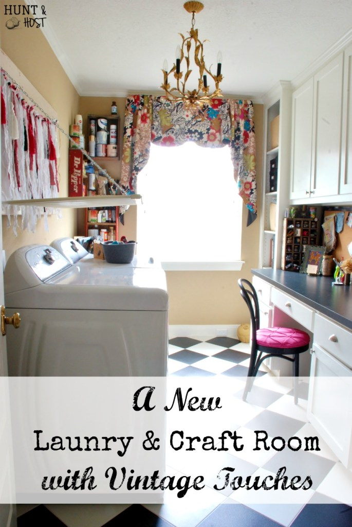 A new laundry & craft room gets built with vintage storage and décor. www.huntandhost.net