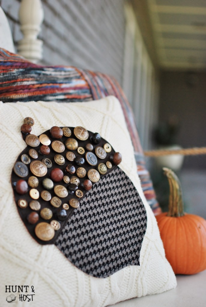 vintage button acorn sweater pillow