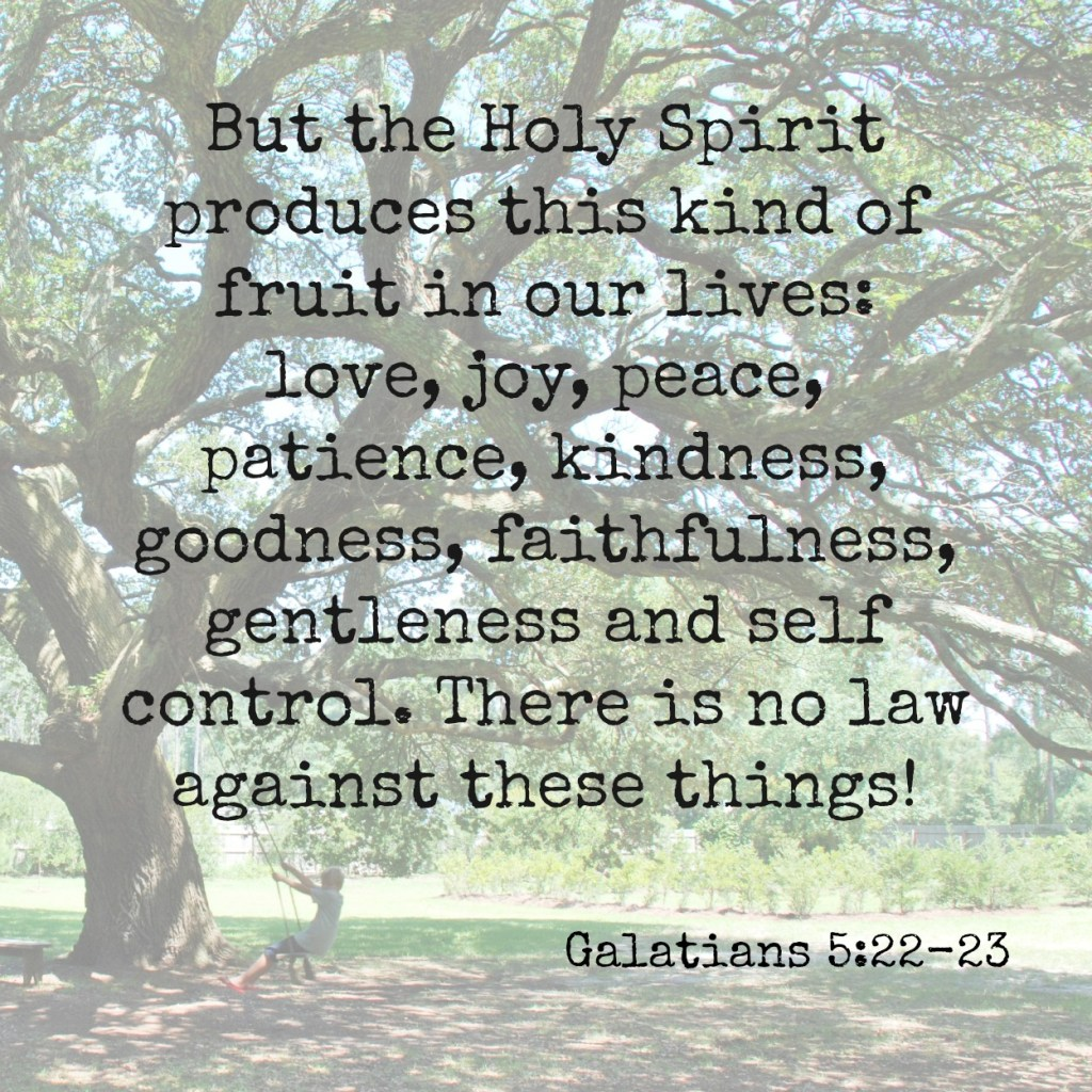 But the Holy Spirit produces this kind of fruit in our lives: love, joy, peace, patience, kindness, goodness, faithfulness, gentleness, and self-control. There is no law against these things! Galatians 5:22-23 Memory verse challenge www.huntandhost.net