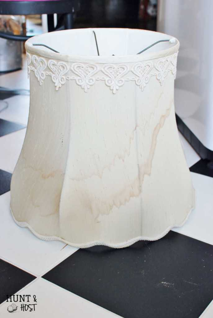 A vintage lamp shade becomes a gorgeous centerpiece. It has good bones. Ezekiel 37:5