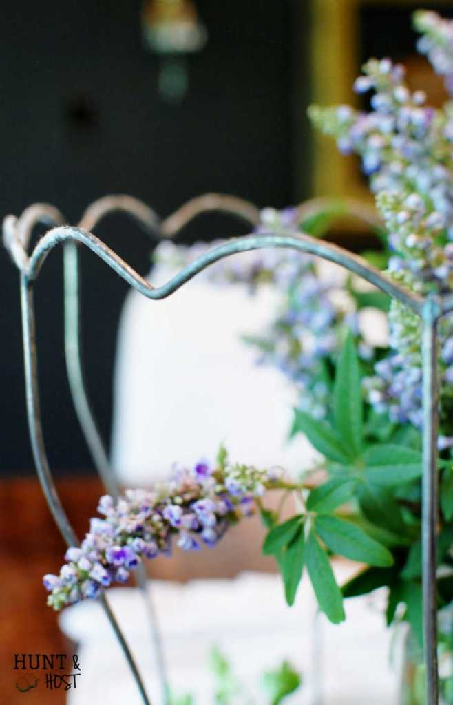A vintage lamp shade becomes a gorgeous centerpiece. It has good bones. Ezekiel 37:5