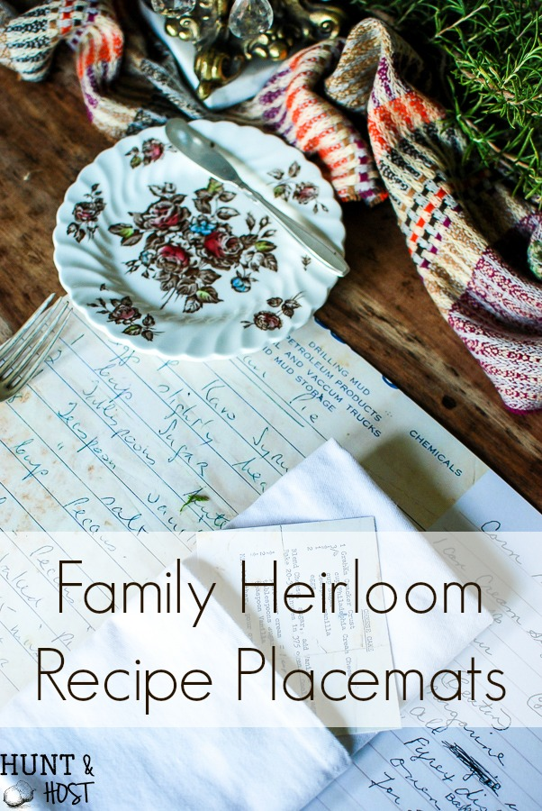 Family heirloom recipe placemates thanksgiving table setting hunt family heirloom recipe placemats bring all the thanksgivings past to life remember your loved ones solutioingenieria Choice Image