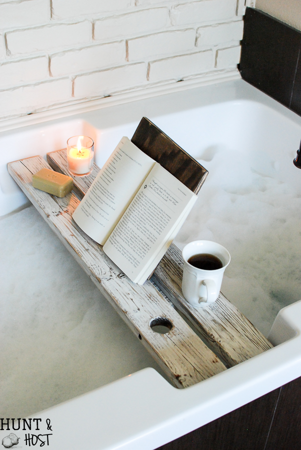 diy tutorial for a bath tray with a book rest this bath caddy will make