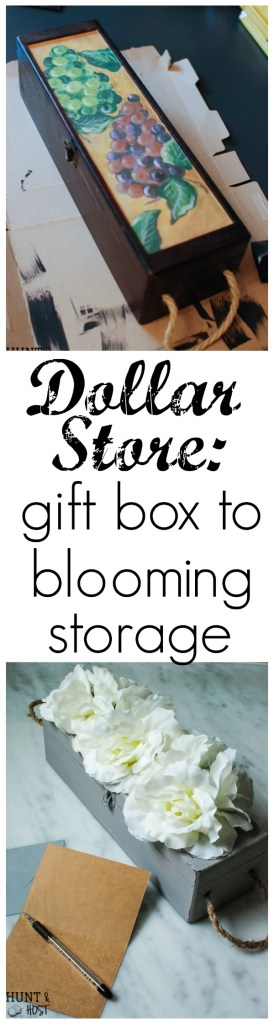 An old wine gift box transformed into a blooming storage box with dollar store flowers. PLUS five other DIY dollar store ideas with flowers.