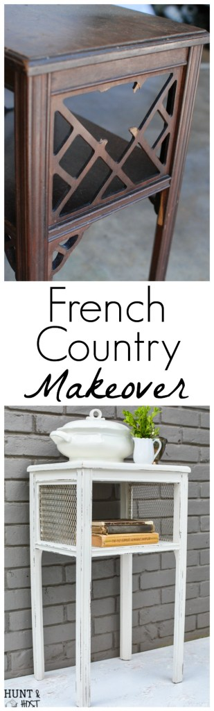 This broken side table found during Round Top Antiques Week gets a French country makeover.